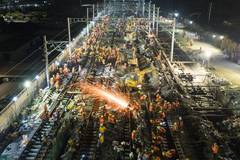 Railway project involving 1,500 workers completed in less than 9 hours