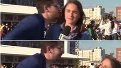 美女记者报道世界杯险遭强吻 完美躲开后怒斥男子