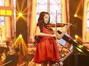 欧阳娣娣拉琴安静优雅 红裙长发似娃娃