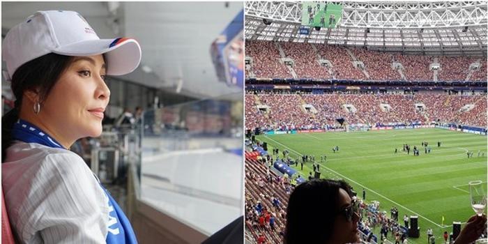 众星现身世界杯决赛 刘嘉玲看台喝香槟贵妇十足