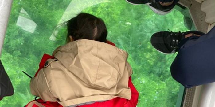 昆凌带小周周坐透明高空缆车 周大胆躺玻璃看风景