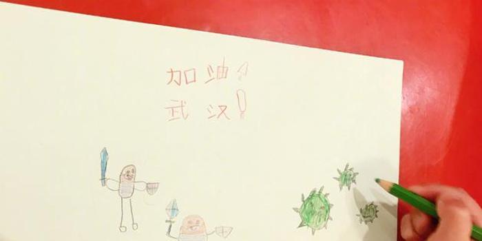 吴京孩子画手绘图接力为防疫加油:我们一定赢