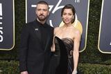 贾老板Justin Timberlake携爱妻亮相第75届金球奖红毯