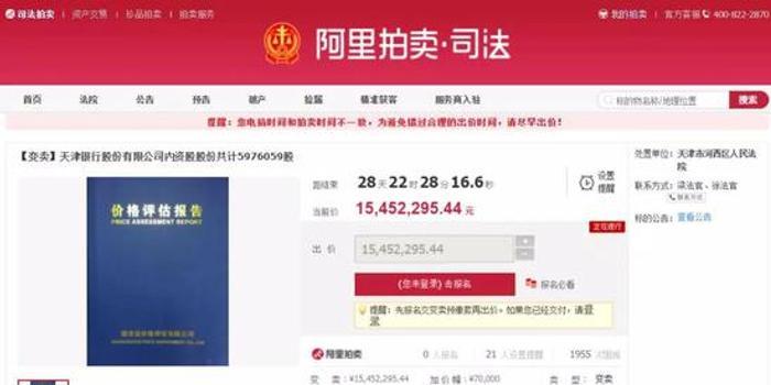 天津银行股权流拍后遭变卖 曾为追债与股东对簿公堂