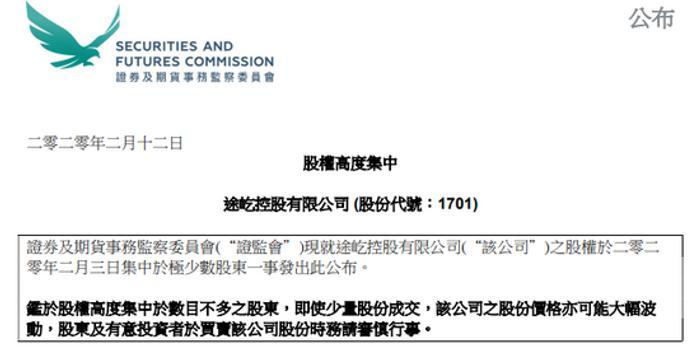 港证监:股权高度集中 途屹控股19名股东持股92.37%