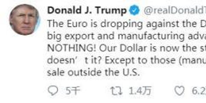 特朗普称欧元兑美元