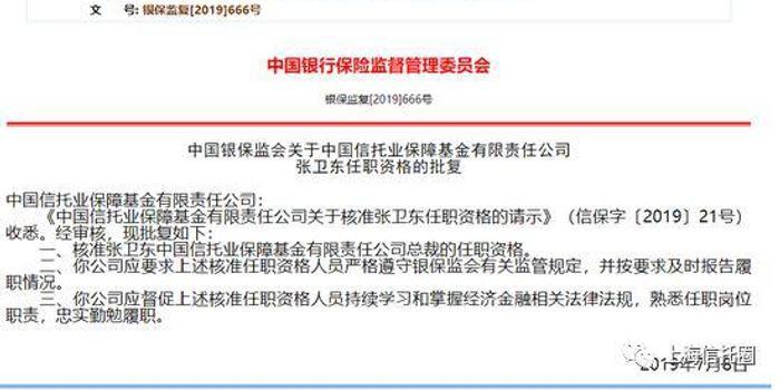 信保基金总裁张卫东履新信达资产副书记 有望任总裁