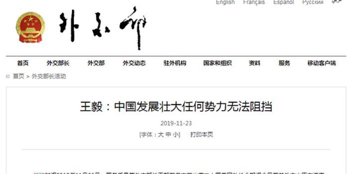 王毅:中国发展壮大任何势力无法阻挡