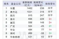2019年中指基规模:华夏易方达超千亿 国寿民生排名升