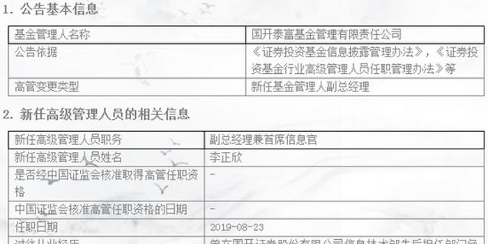 國開泰富朱瑜卸任CIO 新任李正欣為副總兼首席信息官