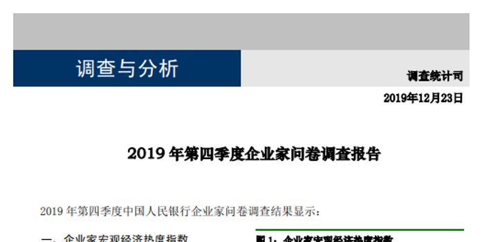 央行报告:第四季度企业家宏观经济热度指数为31.9%