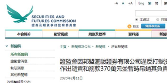 香港证监会谴责邦盟汇骏罚款370万 暂吊销负责人牌照