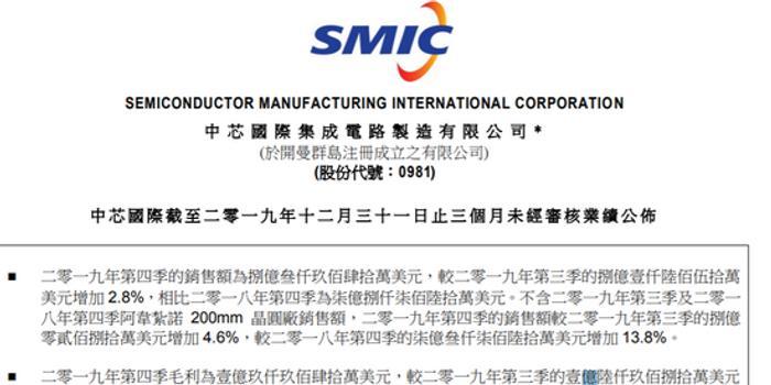 中芯国际:公司第四季度营收为8.39亿美元 增长6.6%