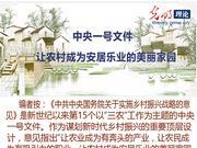 中央一号文件:让农村成为安居乐业的美丽家园