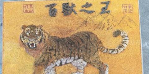 晋江男子用32万根牙签画百兽之王