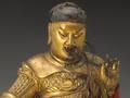 木雕镀金彩绘伽蓝菩萨坐像