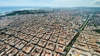 从天空中鸟瞰巴塞罗那