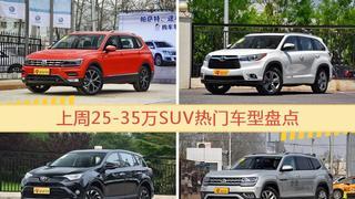 25-35万SUV车型上周热度排行揭晓,途观领跑