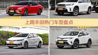 一周热度排行:丰田旗下车型中凯美瑞、汉兰达、卡罗拉位列三甲