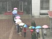 """暖闻   雨中老师排队为学生架起""""彩虹桥"""""""