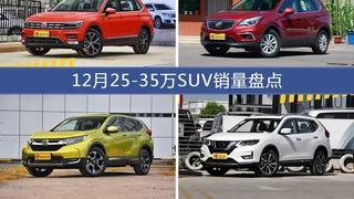 途观/昂科威等12月25-35万SUV车型销量汇总