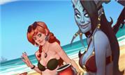 魔兽画作:沙滩美女比基尼 在度假中的联盟众人