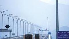 港珠澳大桥今通车运营 货车和旅客在大桥上川流不息
