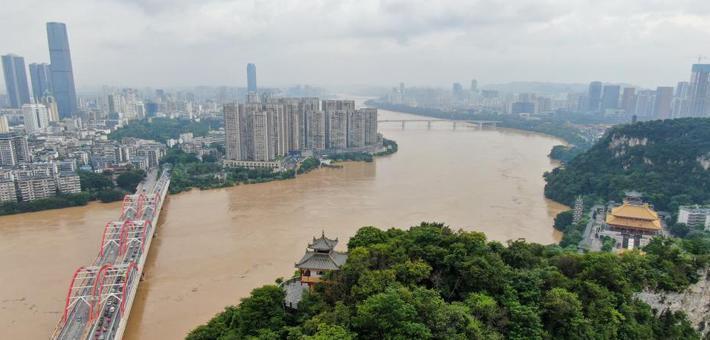 广西柳江年内4次超警戒水位 城市如孤岛