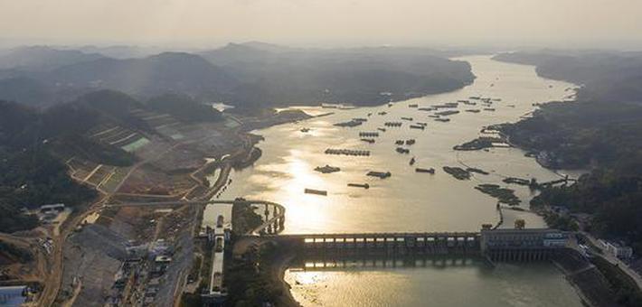 鸟瞰西津水利枢纽二线船闸工程