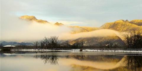 航拍神农架国家公园 大九湖晨雾美景迷人