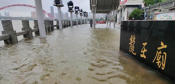 两江洪水上涨 大水冲淹了汉口龙王庙