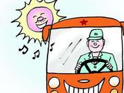 """武汉一公交车秒变""""救护车"""" 司机背晕倒乘客送医"""