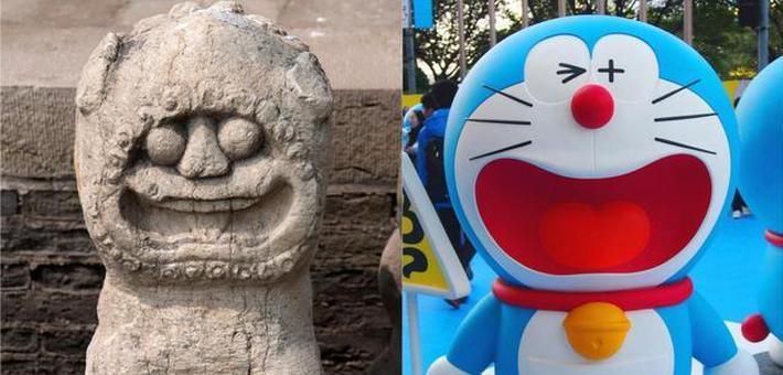 """文庙石狮被戏称哆啦A梦""""始祖"""""""