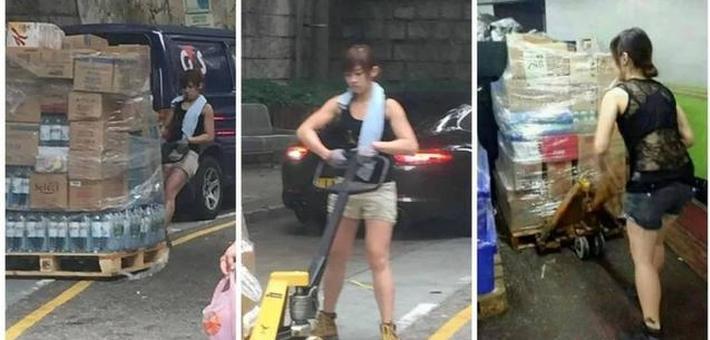 美女搬运工走红:一次拉货400斤
