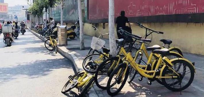 共享单车乱停放 公交车站成重灾区