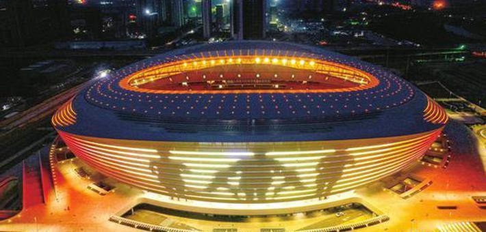 闪亮新地标 郑州奥体中心试灯璀璨迷人