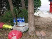 河南大学生见环卫工消防栓接水喝 买矿泉水放绿化带
