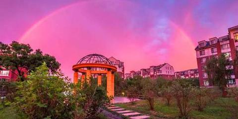 哈尔滨出现双彩虹
