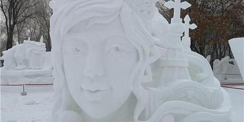 """全国雪雕赛17支队伍太阳岛""""比美"""""""