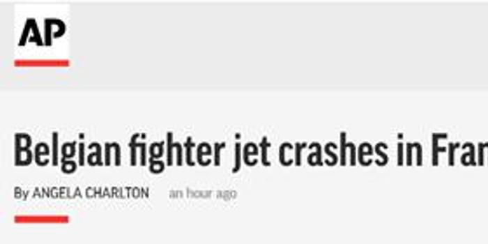 比利时一架F16在法国坠毁 飞行员跳伞被挂高压电线