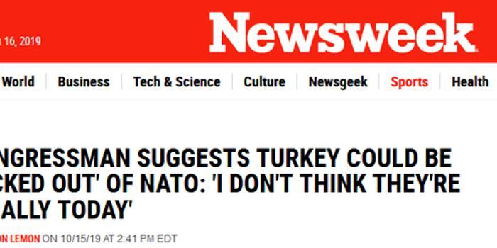 美議員警告:土耳其表現得不像盟友 或被踢出北約