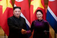 朝?#39318;?#39640;领导人金正恩会见越南国会主席阮氏金银