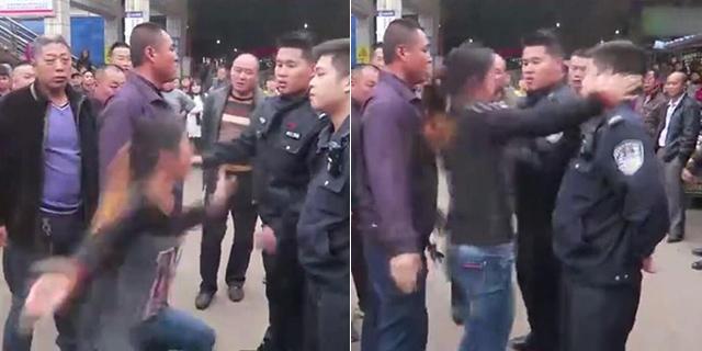 为帮丈夫出头 悍妇抡臂扇警察
