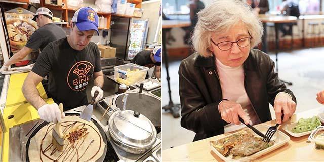 纽约人美国卖煎饼 烤鸭味最火