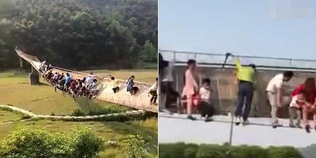 游客太多 吊桥松动20人险坠桥