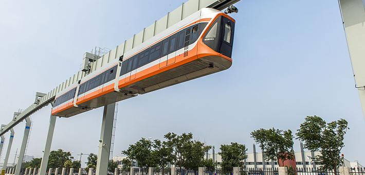 青岛造悬挂式列车试运行 国内最快