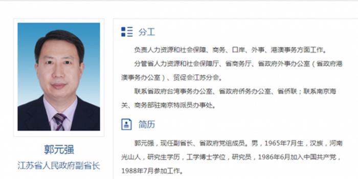 跨省赴江蘇不到兩年 郭元強晉升省委常委(圖)
