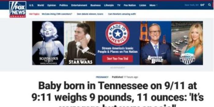 9月11日当天 美国女婴9时11分出生体重9磅11盎司