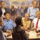 川普辦公室添新畫:他和林肯羅斯福喝酒聊天(圖)