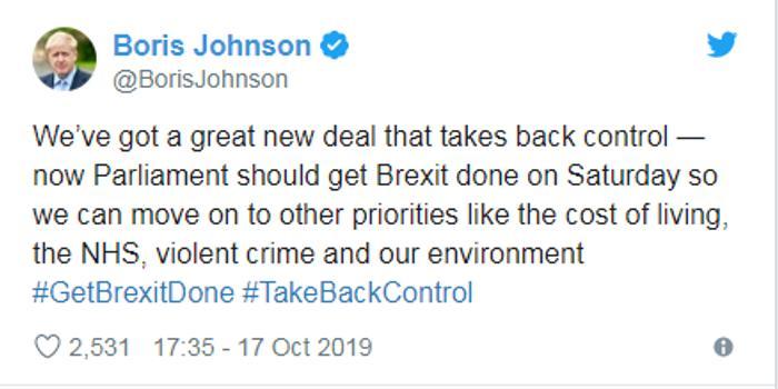 """約翰遜:已與歐盟就脫歐達成一項""""偉大的新協議"""""""
